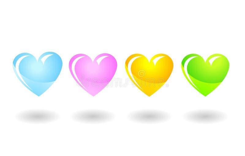 colorfullhjärtor isolerade valentinwhite fotografering för bildbyråer