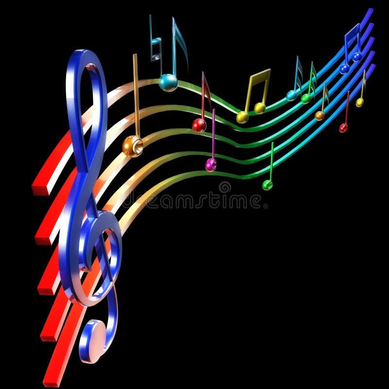 colorfullmusikalanmärkningar royaltyfri illustrationer
