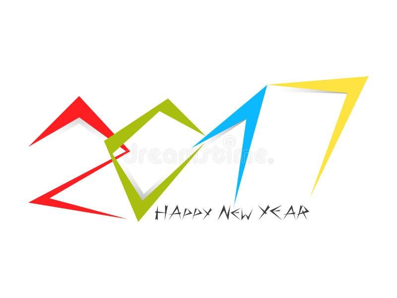 Colorfulltypografie van 2017 met nieuwe jaarteksten stock afbeelding