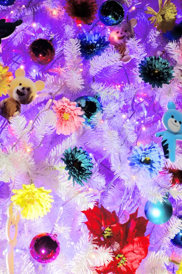 Colorfully decorated tree. A colorfully and colorfully decorated tree stock photography