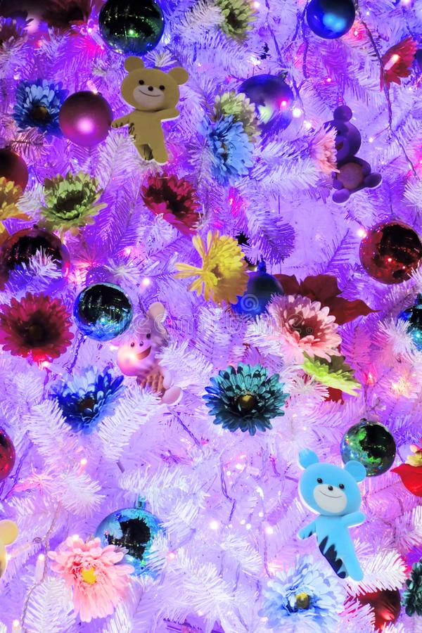 Colorfully decorated tree. A colorfully and colorfully decorated tree royalty free stock image