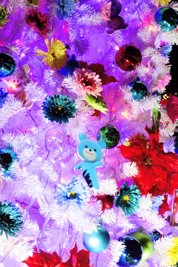 Colorfully decorated tree. A colorfully and colorfully decorated tree royalty free stock photography