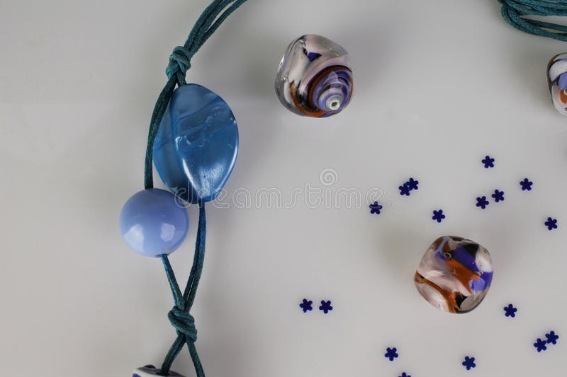 Colorfully eads. Ocane blue and colorfully beads stock images