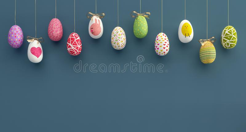 Colorfully Easter eggs background 3D Rendering. 3D Illustration stock photo