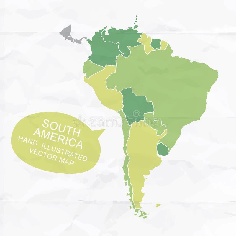 Colorfully illustrerad översikt för vektor hand av Sydamerika vektor illustrationer