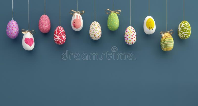 Colorfully rappresentazione del fondo 3D delle uova di Pasqua fotografia stock