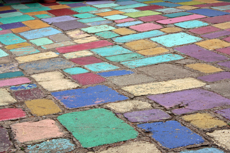 A colorfully tiled patio. A colorfully painted concrete tile area at Balboa Park in San Diego, California royalty free stock photos
