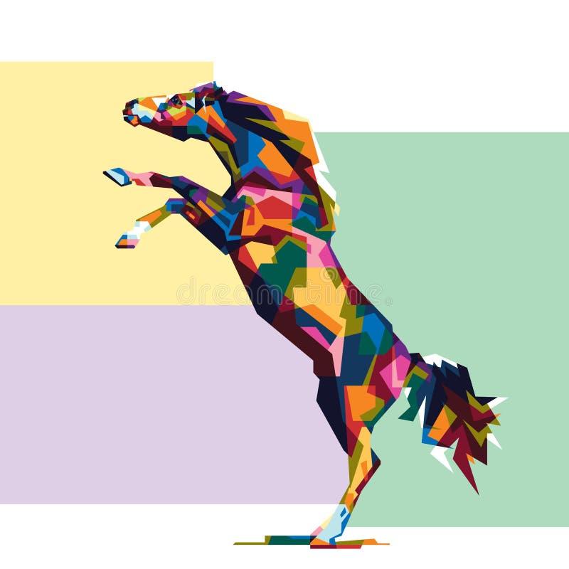 Colorfullypaard Paardembleem Creatief kunstwerk stock fotografie