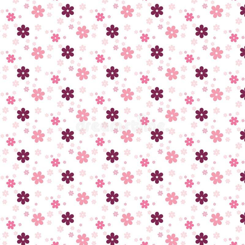 Colorfulness rosado simple del estampado de plores lindo stock de ilustración