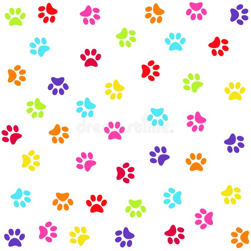 Seamless pattern with colorful animal foot prints, paws vector illustration