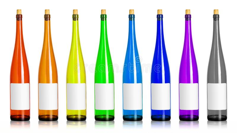 Colorfuls of wine bottles isolated on white background. Beverage container in long shape with blank label. Clipping path. Colorfuls of wine bottles isolated on royalty free stock images