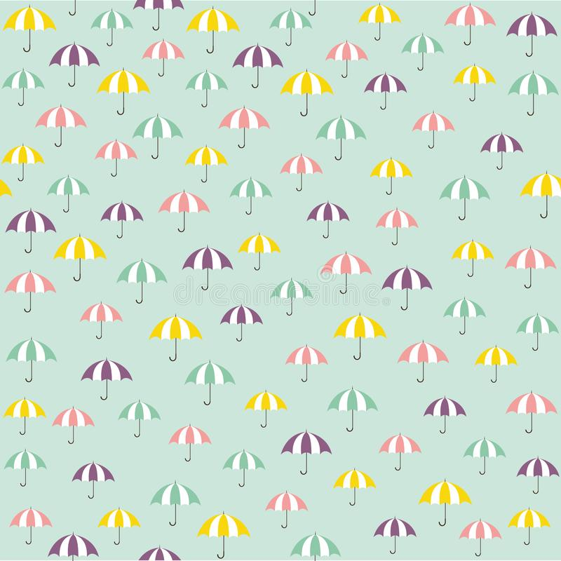 Cute vector pattern with colorful umbrellas. Cute vector illustration pattern with colorful umbrellas stock illustration