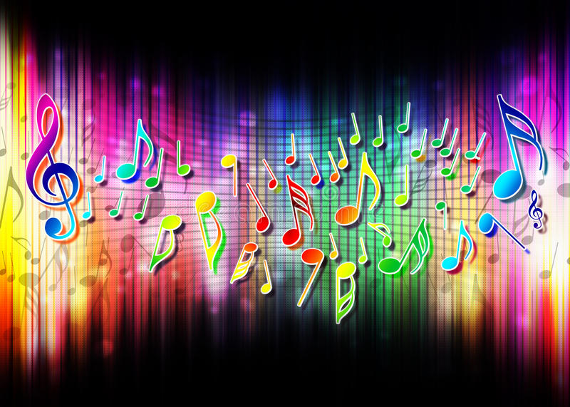 Colori astratti di magia della priorità bassa di musica illustrazione di stock