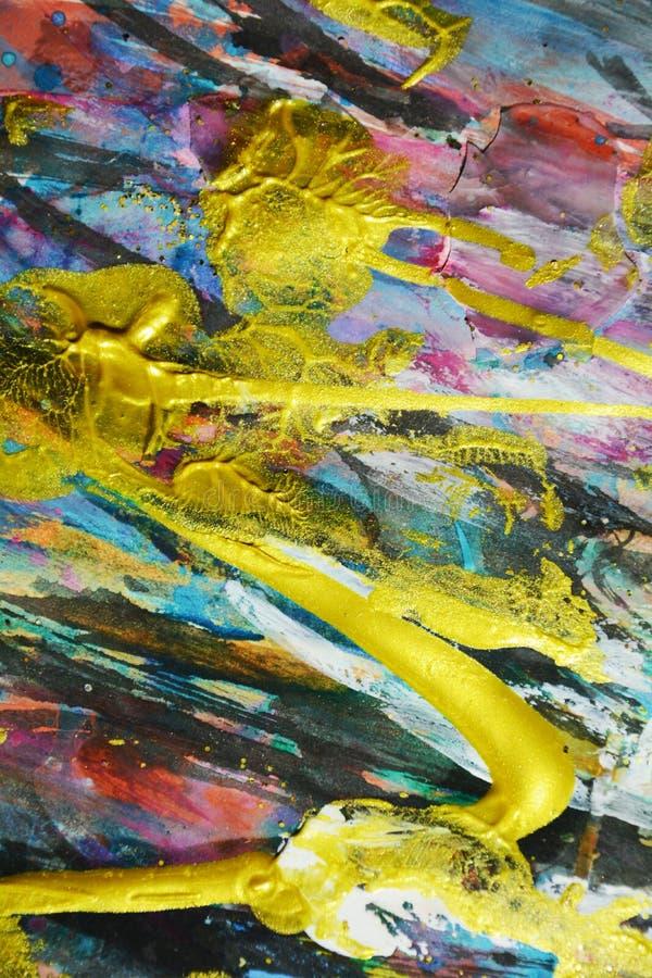 Colori astratti di rosa dell'oro della pittura, colpi della spazzola, fondo ipnotico organico immagini stock