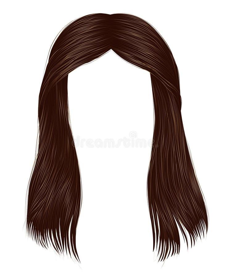 colori castana marroni castana dei capelli lunghi d'avanguardia della donna Modo di bellezza grafico realistico 3d illustrazione di stock