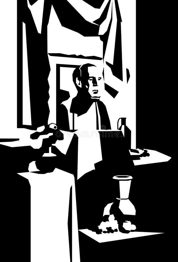 Colori classici di natura morta in bianco e nero, sculture antiche del gesso di David e Venere, lavoro dello studente, accademia  illustrazione vettoriale
