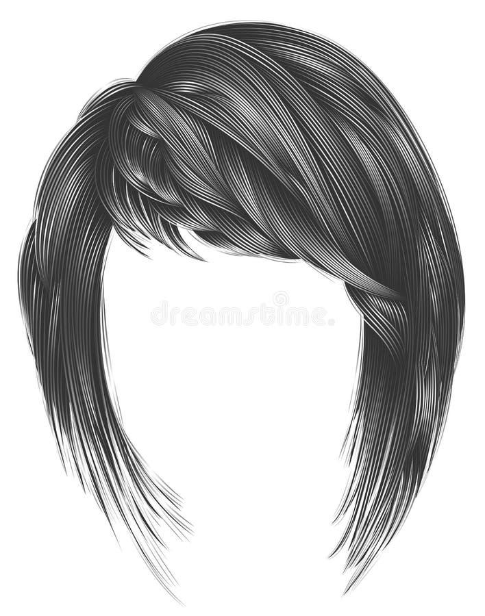 Colori d'avanguardia di gray della donna kare dei capelli con frangia bellezza royalty illustrazione gratis