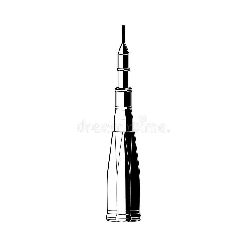 Colori del razzo di spazio in bianco e nero - illustrazione isolata dell'astronave per esplorazione dell'universo illustrazione vettoriale