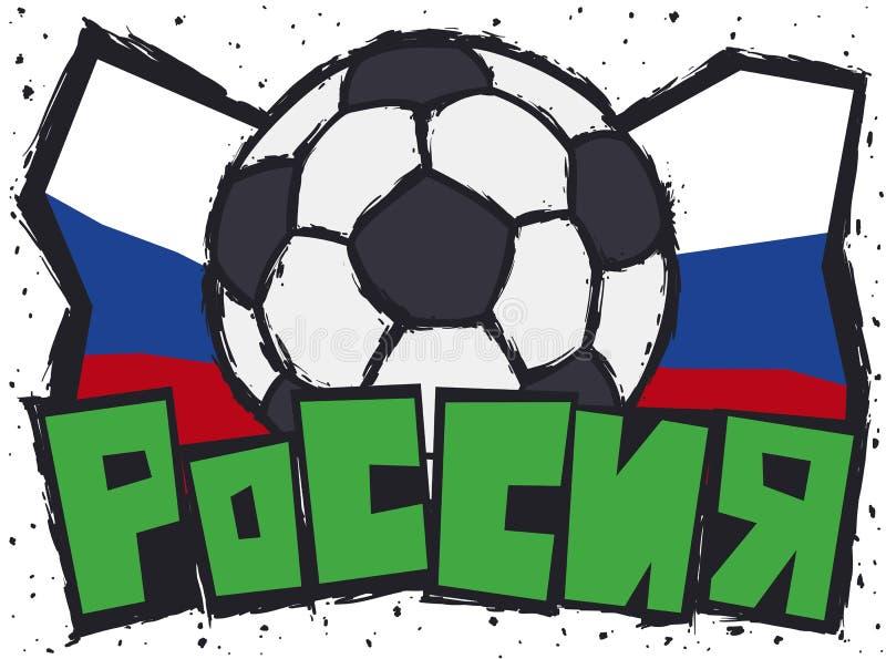 Colori del Russo e del pallone da calcio nelle pennellate per il torneo di calcio, illustrazione di vettore illustrazione di stock