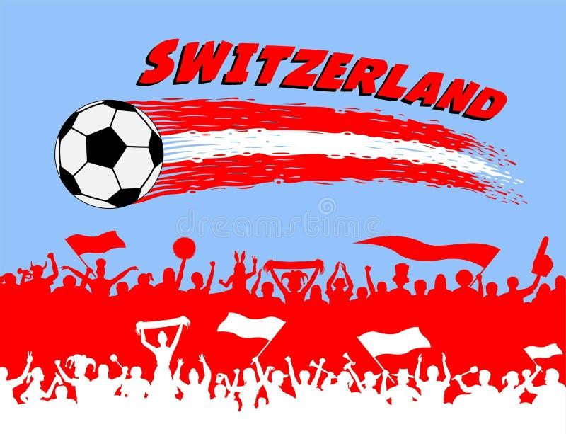 Colori della bandiera della Svizzera con il si dei sostenitori dello svizzero e del pallone da calcio illustrazione vettoriale