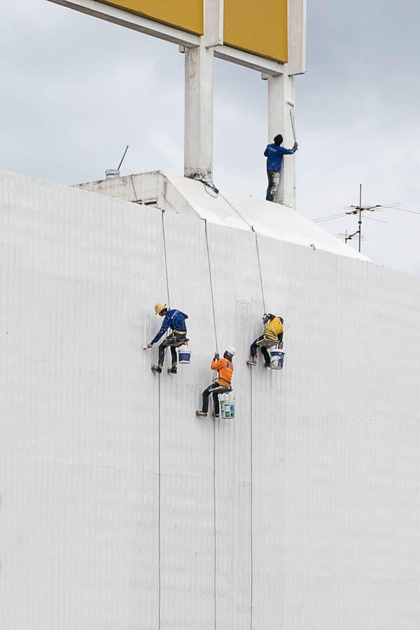 Colori della pittura sulla parete di costruzione immagini stock libere da diritti