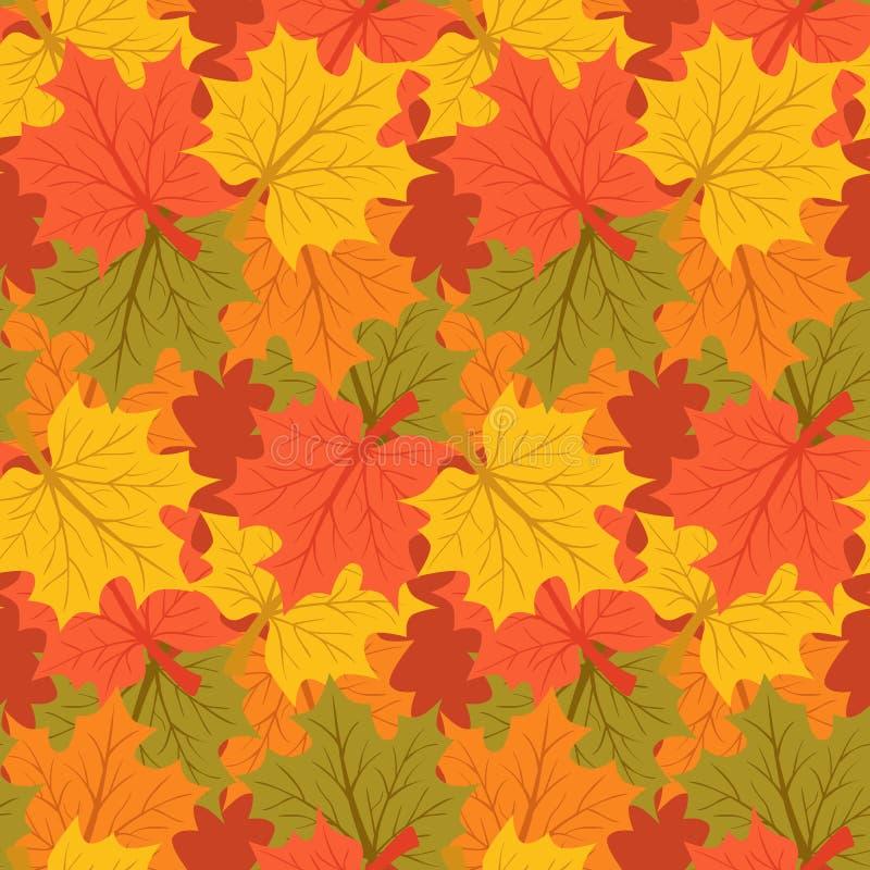Colori 9 di autunno Priorità bassa di autunno Modello senza cuciture senza fine illustrazione di stock