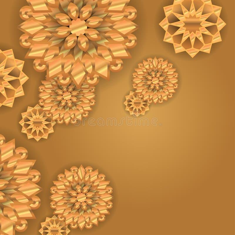 colori di lusso dell'oro dei fiori 3d del fondo dell'illustrazione decorativa dorata di vettore illustrazione vettoriale