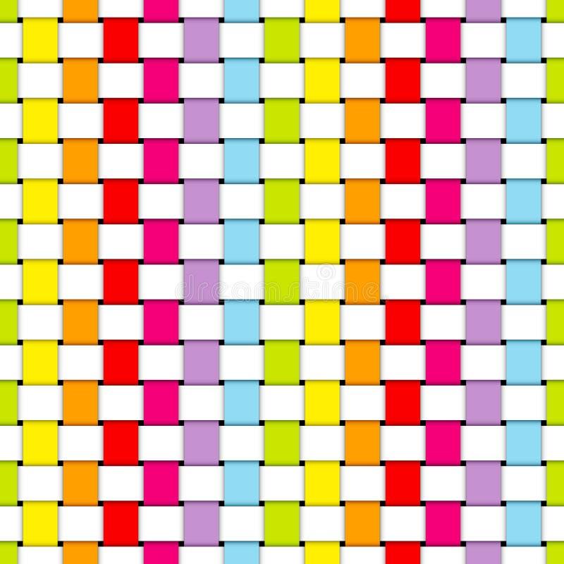 Colori e bianco di carta dell'arcobaleno delle bande intrecciati modello senza cuciture illustrazione di stock