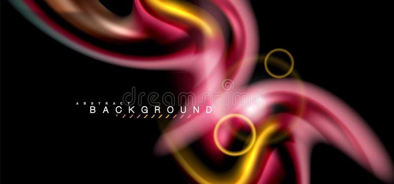 Colori gli effetti della luce brillanti su forma ondulata multicolore di stile nero e liquido illustrazione di stock