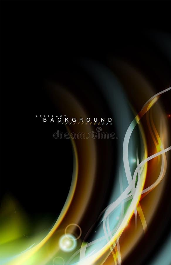 Colori gli effetti della luce brillanti su forma ondulata multicolore di stile nero e liquido illustrazione vettoriale