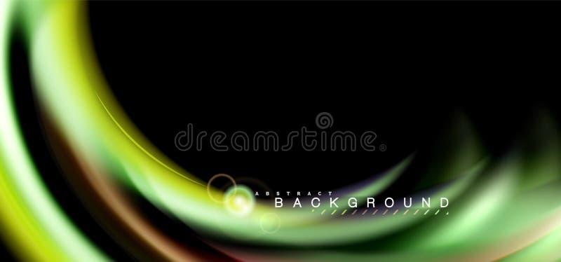 Colori gli effetti della luce brillanti su forma ondulata multicolore di stile nero e liquido royalty illustrazione gratis