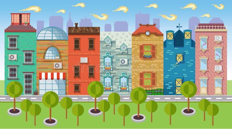 Colori i paesaggi urbani delle illustrazioni di vettore e del centro illustrazione vettoriale