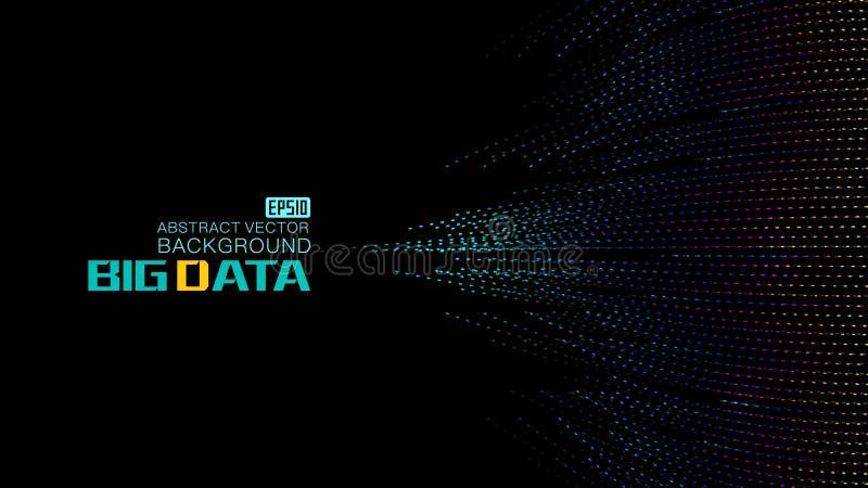 Colori i punti costruiti con grande fondo di dati, fondo di dati della rete di vettore grande illustrazione di stock
