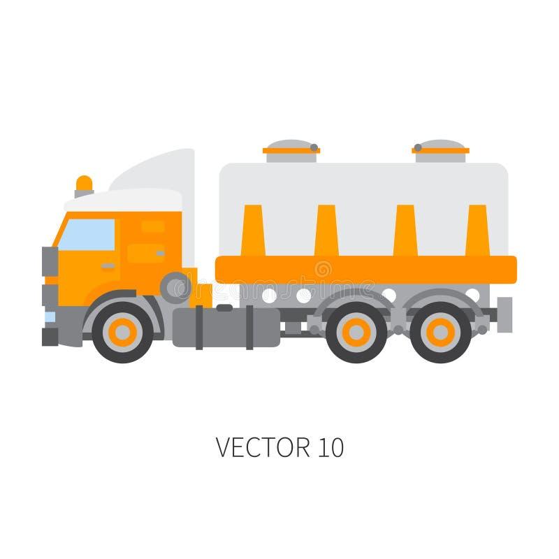 Colori il carro armato normale del camion del macchinario di costruzione dell'icona di vettore Stile industriale Consegna corpora illustrazione di stock