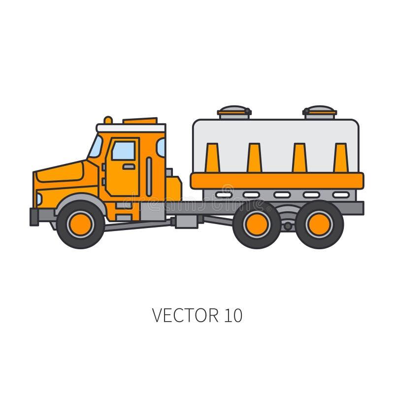 Colori il carro armato piano del camion del macchinario di costruzione dell'icona di vettore Stile industriale Consegna corporati illustrazione vettoriale