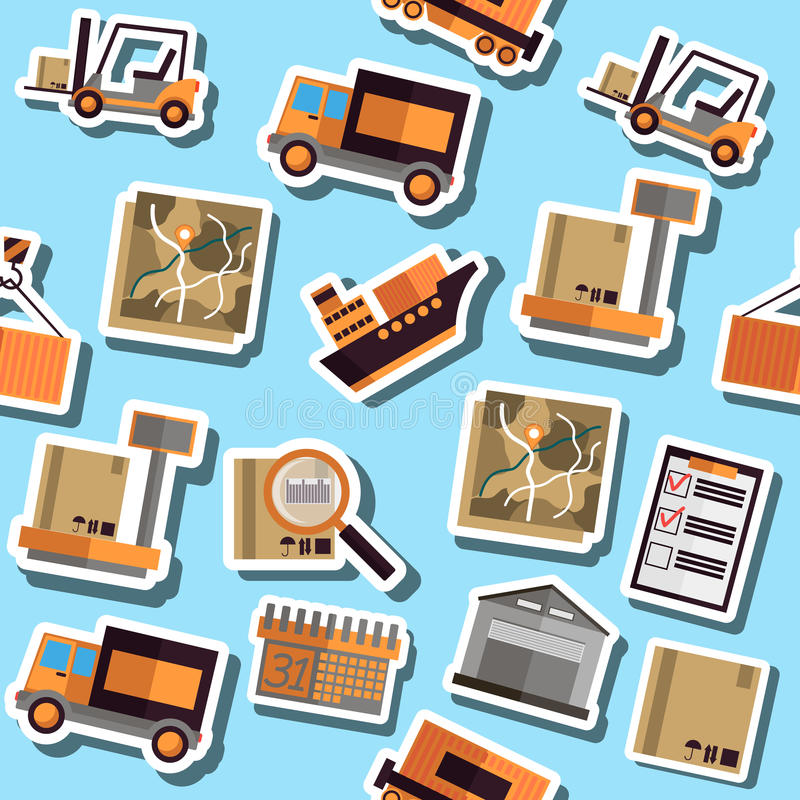 Colori il collage piano di logistica illustrazione di stock