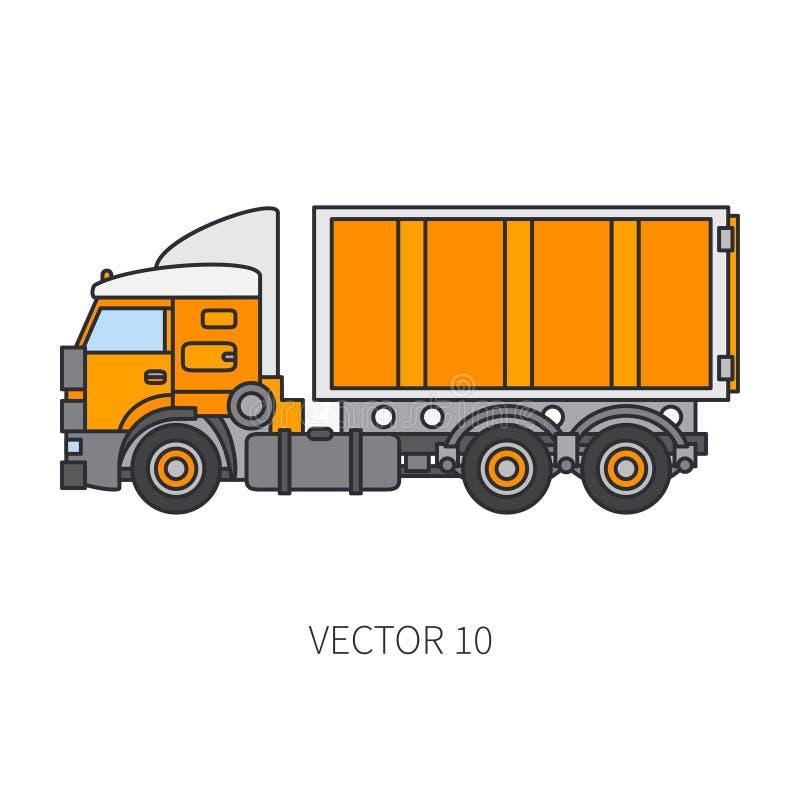 Colori il contenitore piano del camion del macchinario di costruzione dell'icona di vettore Stile industriale Consegna corporativ illustrazione di stock
