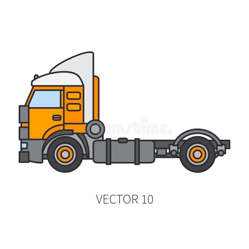 Colori il contenitore piano del camion del macchinario di costruzione dell'icona di vettore Stile industriale Consegna corporativ illustrazione vettoriale