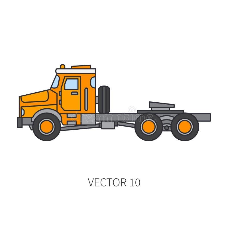 Colori il contenitore piano del camion del macchinario di costruzione dell'icona di vettore Stile industriale Consegna corporativ royalty illustrazione gratis
