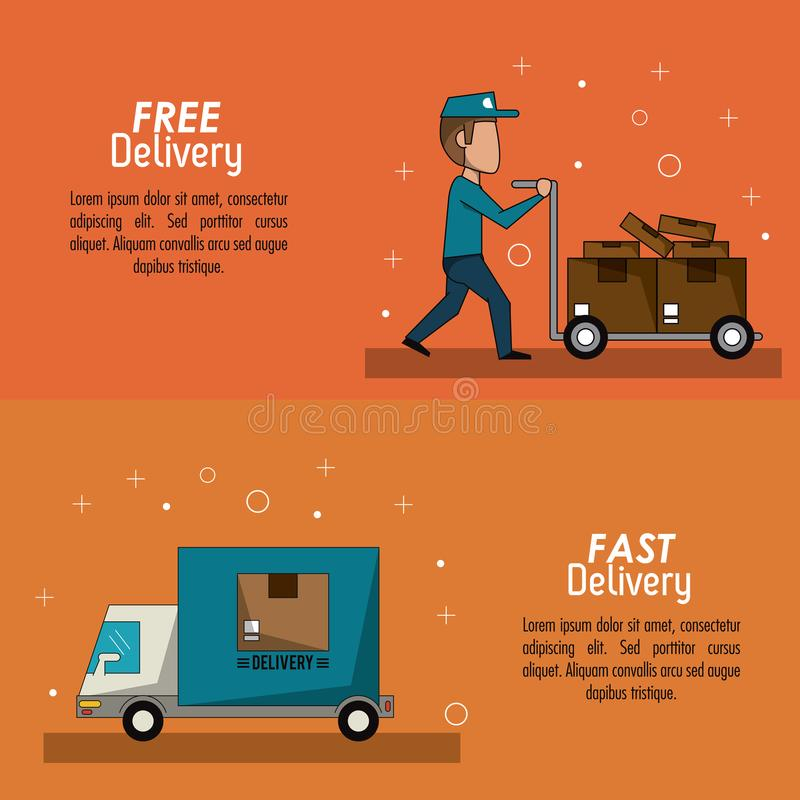 Colori il fattorino veloce di scena dell'insegna del manifesto con i pacchetti ed il camion del carrello a mano illustrazione vettoriale