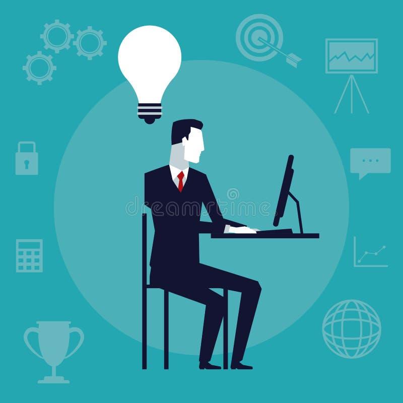 Colori il fondo con l'uomo esecutivo che si siede in scrittorio con il dispositivo di tecnologia in ufficio che ha un'idea royalty illustrazione gratis
