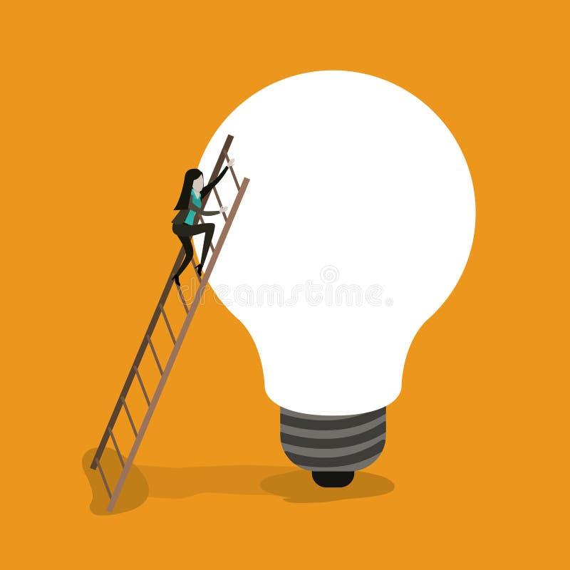 Colori il fondo con la donna di affari che scala le scale di legno in una grande lampadina illustrazione di stock