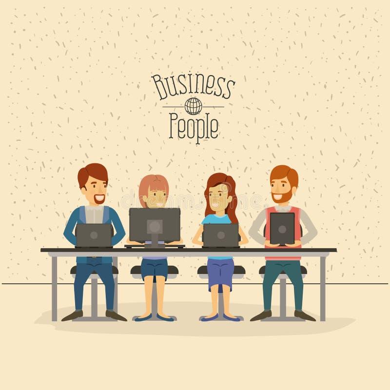 Colori il fondo con le scintille di grandi persone del gruppo che si siedono in scrittorio con la gente di affari dei dispositivi illustrazione vettoriale