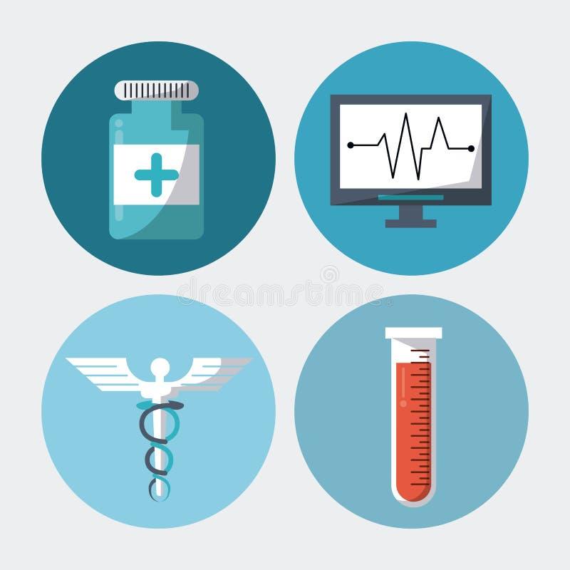 Colori il fondo con le strutture rotonde con il simbolo medico del caduceo della provetta delle pillole degli elementi e pulsi mo illustrazione di stock