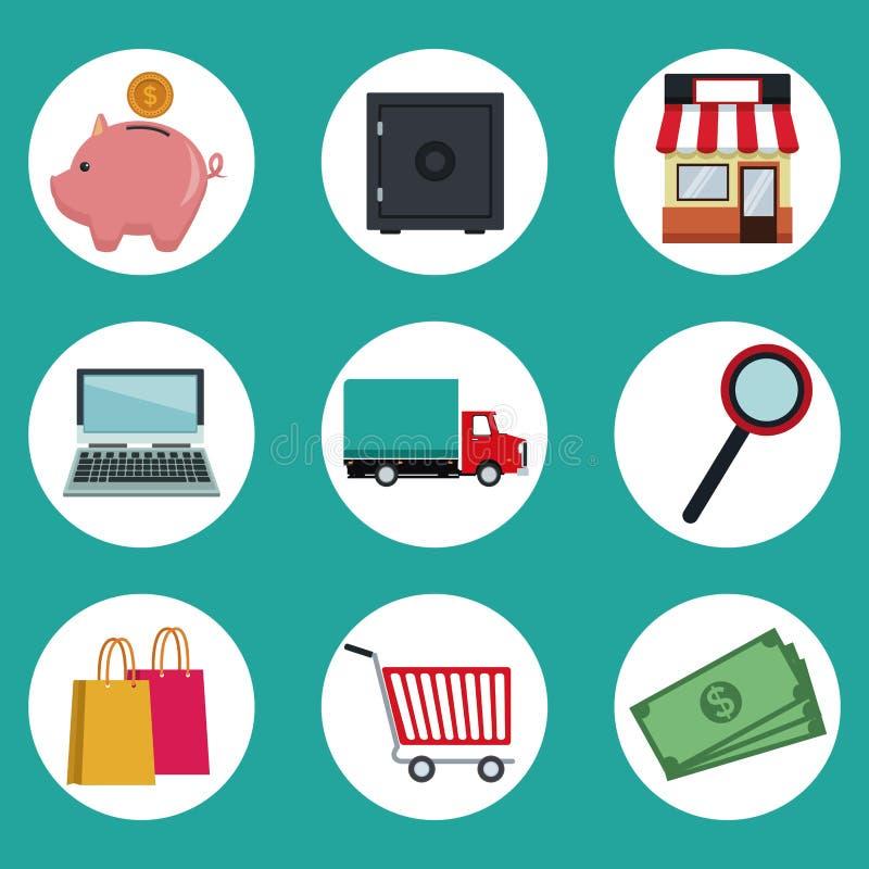 Colori il fondo degli elementi circolari delle icone della struttura di acquisto online illustrazione di stock
