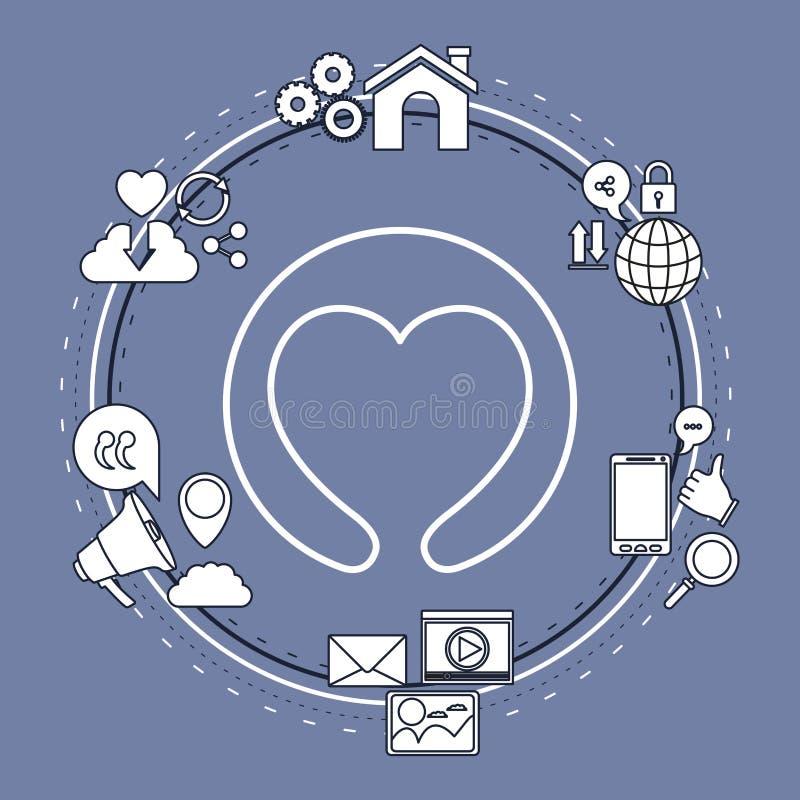 Colori il fondo del telaio circolare delle icone di Internet della parte di tecnologia e della forma del cuore della siluetta del illustrazione di stock