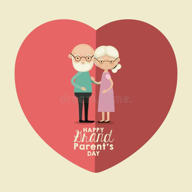 Colori il fondo della cartolina d'auguri di rosa di forma del cuore con i nonni felici abbracciati coppie anziane complete del co illustrazione di stock