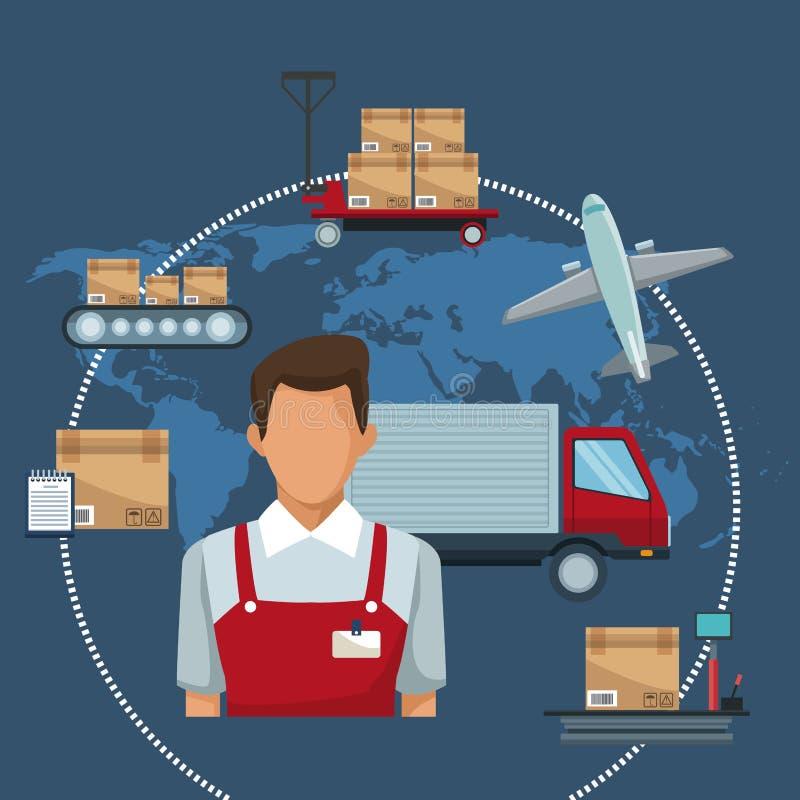 Colori il fondo della mappa di mondo della siluetta con la logistica di stoccaggio delle icone ed il camion del primo piano con i illustrazione di stock