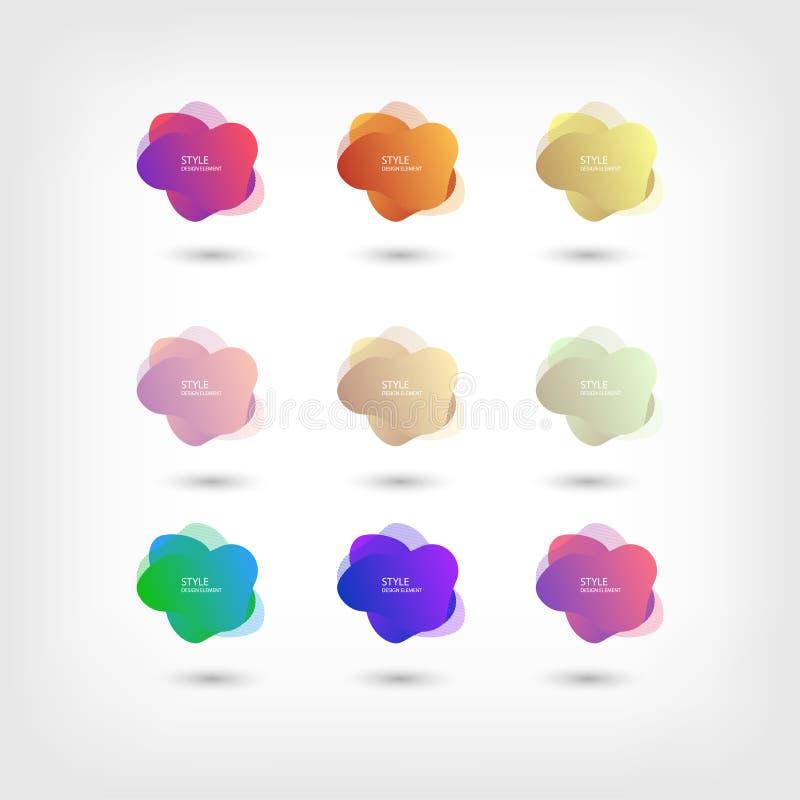 Colori il fondo fluido di pendenza di sovrapposizione di colore dei modelli di semitono liquidi astratti di forma Forme al neon c illustrazione di stock