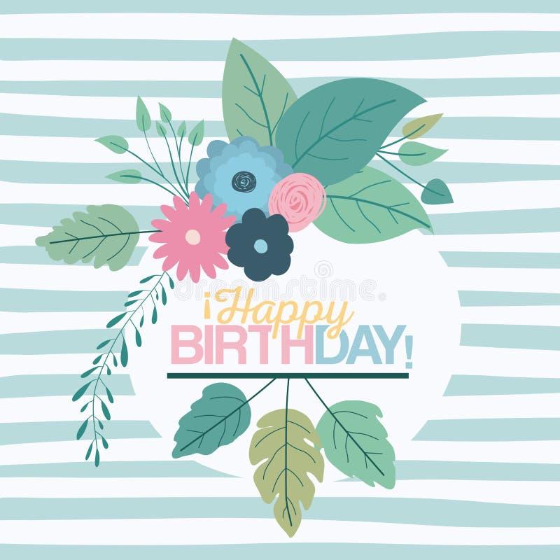 Colori il fondo pastello blu con le linee e la struttura circolare con i fiori decorativi e compleanno del testo il buon dentro illustrazione vettoriale